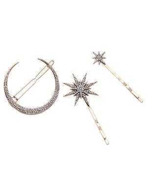 Rhinestone Moon Star Hairpins - Golden