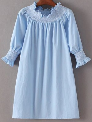 Off Shoulder Poplin Dress - Light Blue
