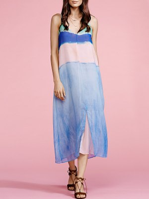 Color Block Cami Maxi Dress - Azure