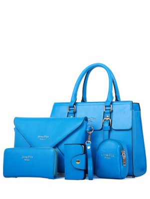 Letter Print Double Buckles Tote Bag - Blue