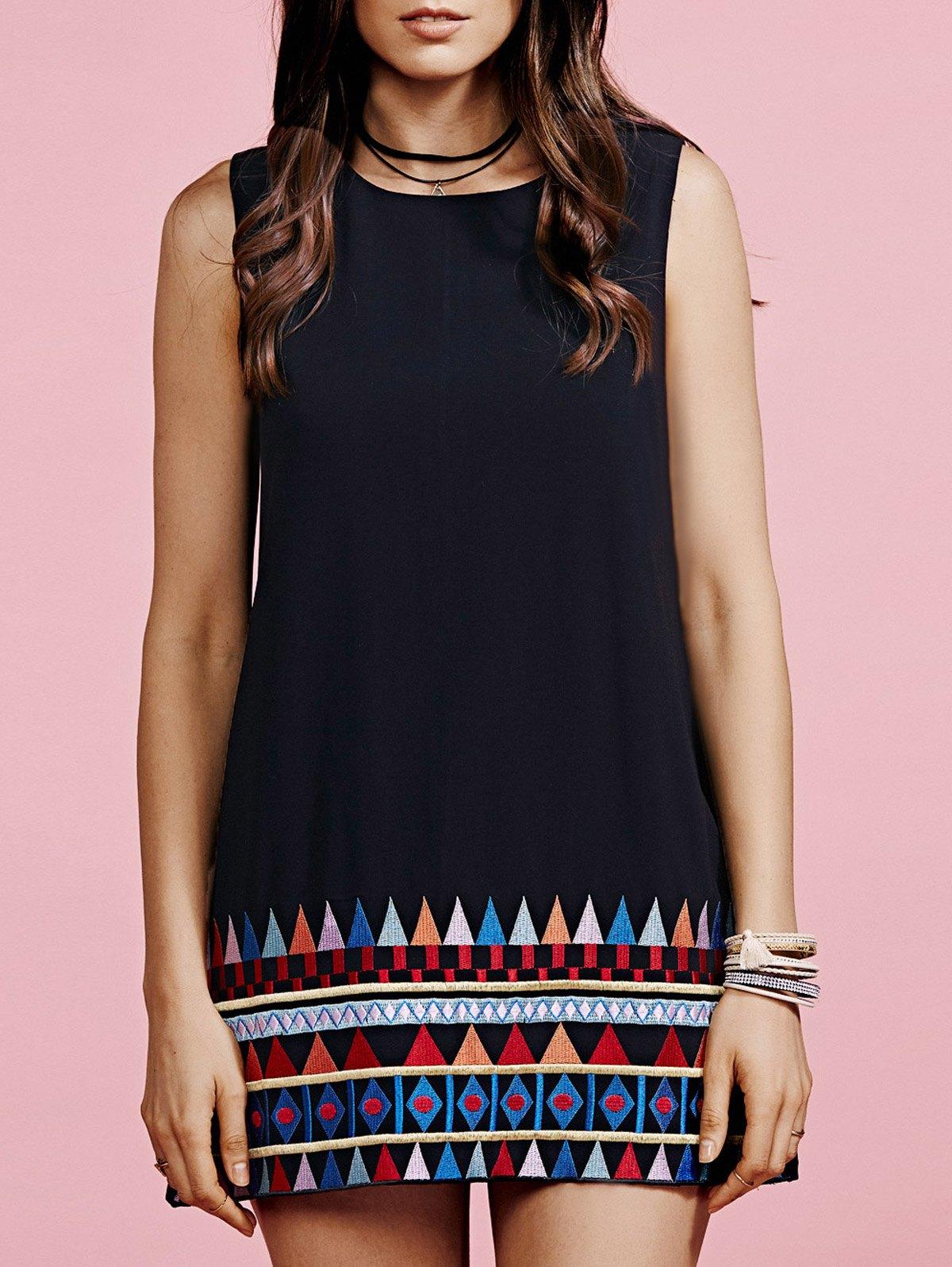 Loose Printed Round Neck Sleeveless Dress
