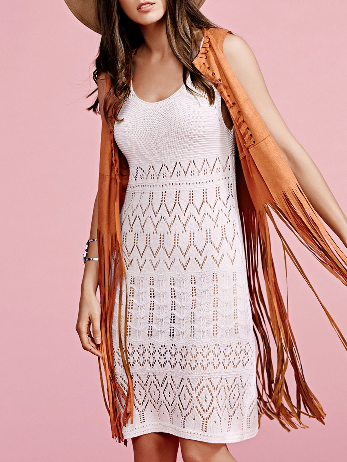 Solid Color Cut Out Round Neck Sleeveless Crochet Dress