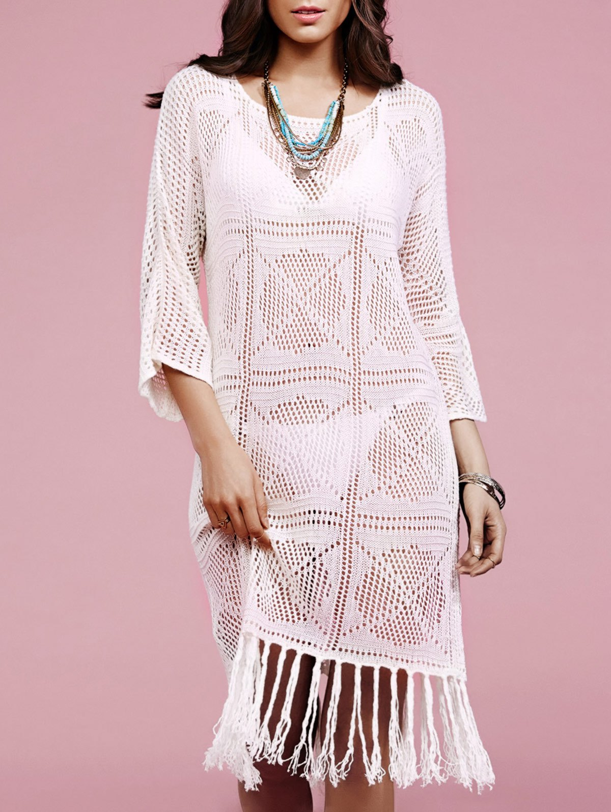 Round Neck Long Sleeve Solid Color Fringe Crochet Cover Up