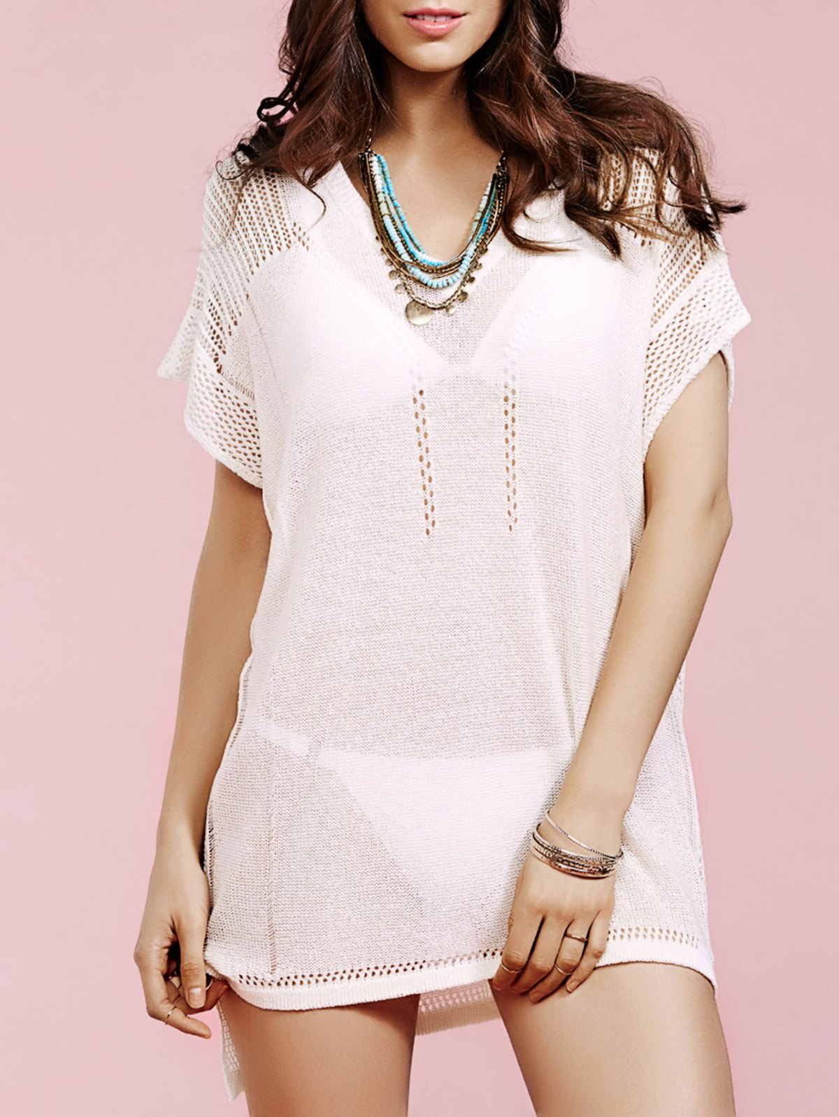 V Neck Short Sleeve Loose Solid Color Crochet Dress