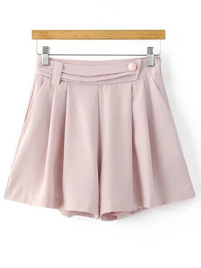 Solid Color Pleated Shorts