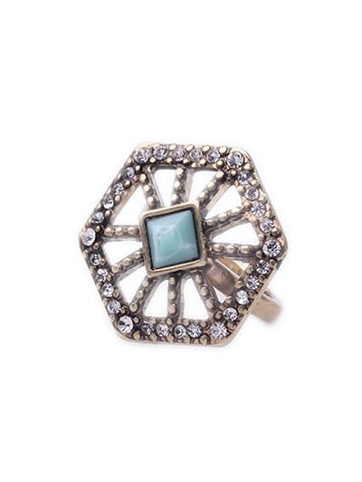 Rhinestone Hollow Out Polygonal Ring