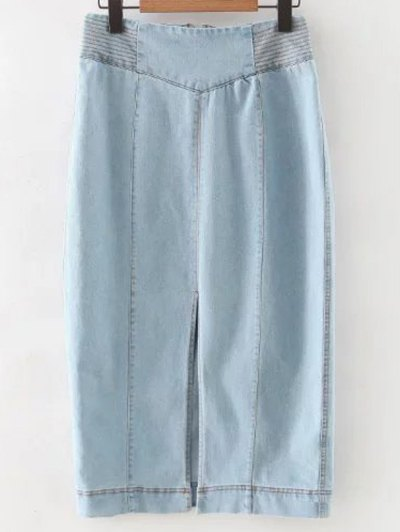 High Waisted Front Slit Denim Skirt