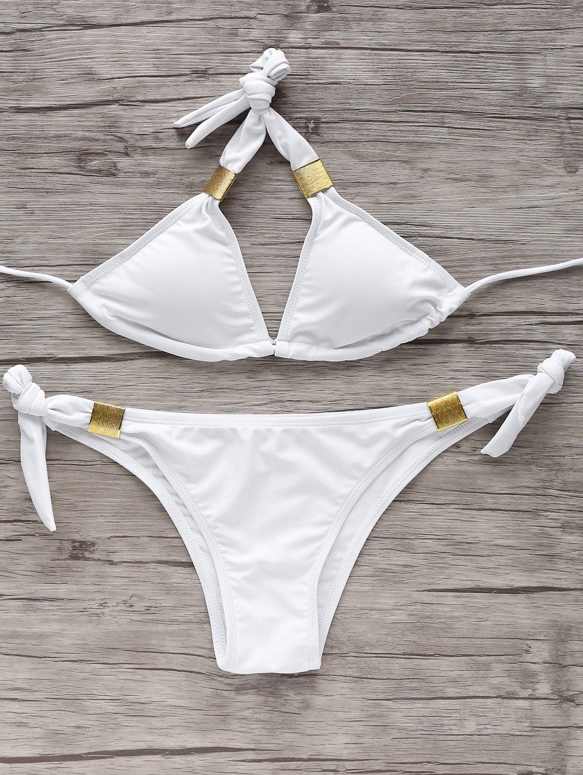 Self-Tie Metal Bikini Set