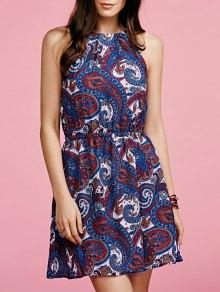 Paisley Print Chiffon Dress - Blue