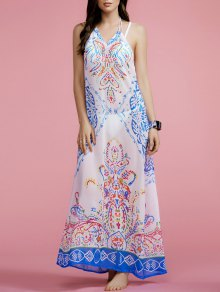 Print Halter Cut Out Maxi Dress