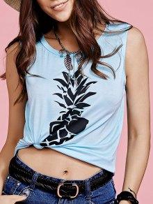 Buy Pineapple Print Round Neck Tank Top - TIFFANY BLUE XL