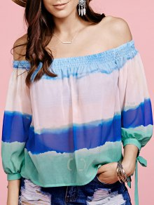 Color Block Scoop Neck 3/4 Sleeve Blouse