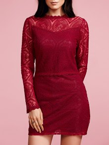 Ruffles Long Sleeve Lace Dress