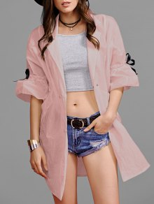 Ruffle Sleeve Trench Coat