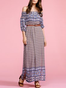 Buy Ethnic Print Shoulder Half Sleeve Maxi Dress - COLORMIX ONE SIZE(FIT SIZE XS TO M)