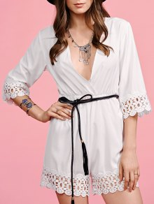 White Lace Splice Plunging Neck Playsuit