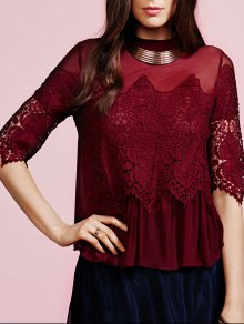 Lace Voile Spliced Stand Neck Blouse