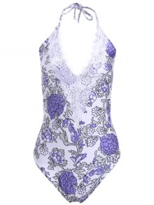 Floral Print Halter One Piece Swimwear