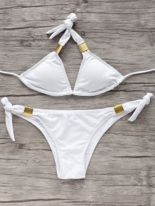 Tie Side Metal Bikini Set - White