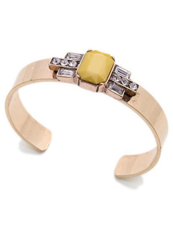 Acrylic Embellished Cuff Bracelet - YELLOW  Mobile