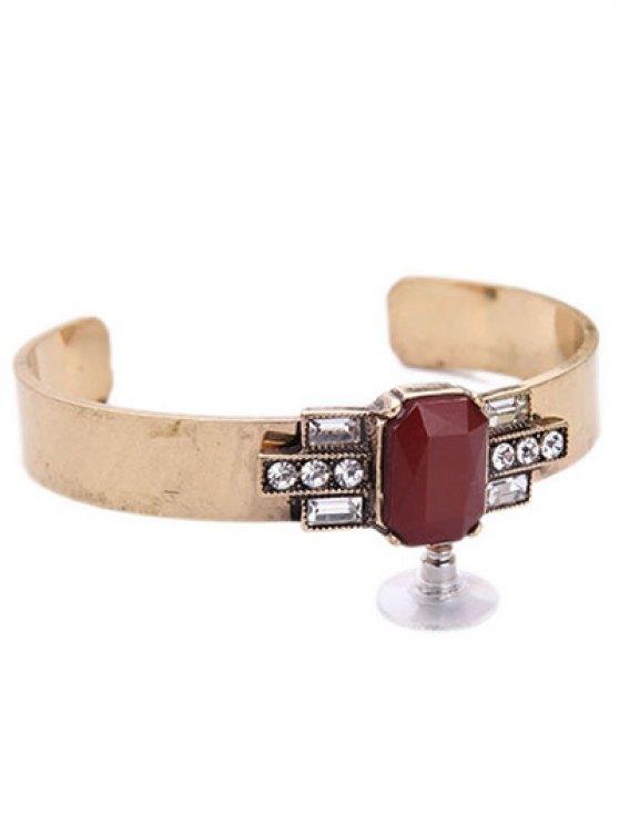 Acrylic Embellished Cuff Bracelet - WINE RED  Mobile