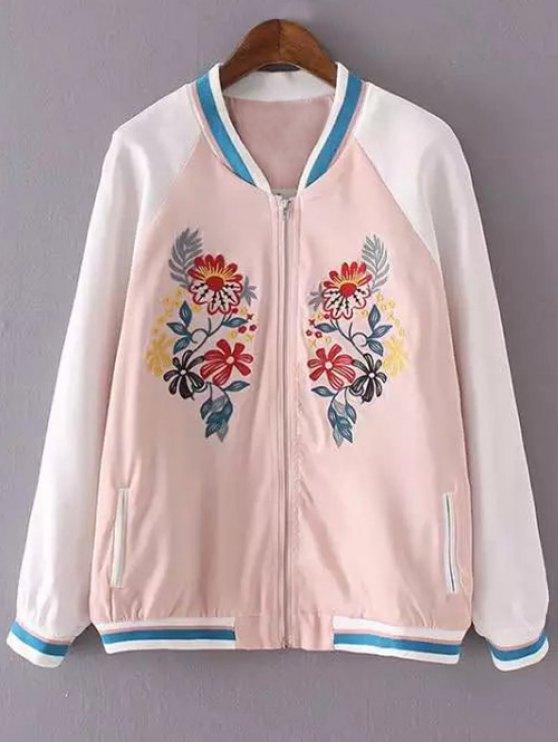 Broderie Floral Support Neck Jacket - ROSE PÂLE S