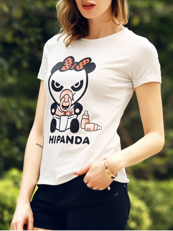 best Cartoon Panda Pattern Tee - WHITE M