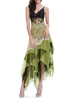 Sequin Floral Layered Asymmetric Slip Dress - Army Green S