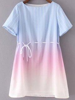 Ombre Round Neck Short Sleeve Striped Dress - Light Blue S