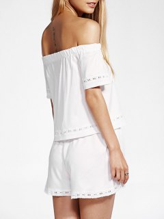 Off The Shoulder T-Shirt And White Shorts Twinset - White M