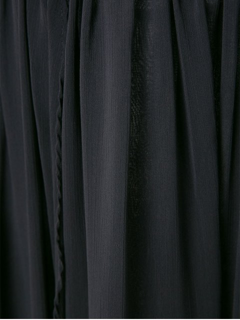 women Long Sleeve Printed Maxi Chiffon Dress - BLACK L Mobile