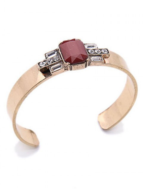 fancy Acrylic Embellished Cuff Bracelet - WINE RED  Mobile