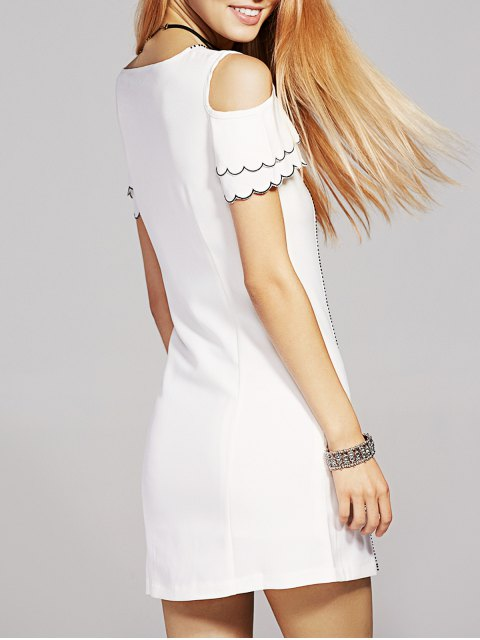 women's Bowknot Embellished Cold Shoulder Dress - WHITE XS Mobile