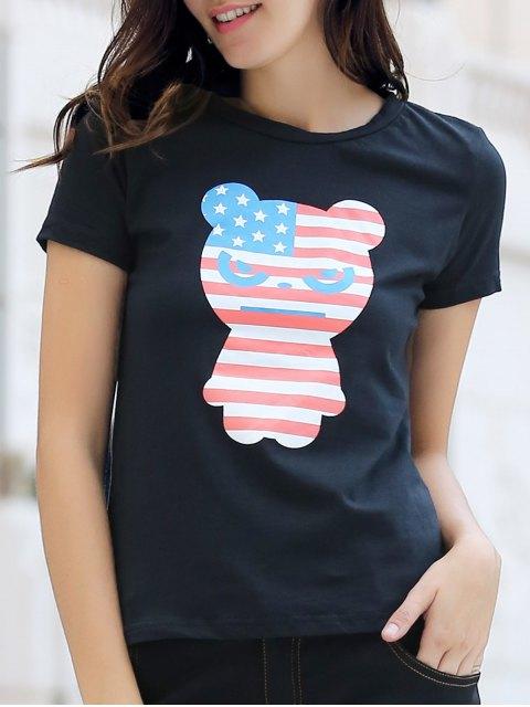 fashion Panda Print Cartoon Tee - BLACK XL Mobile