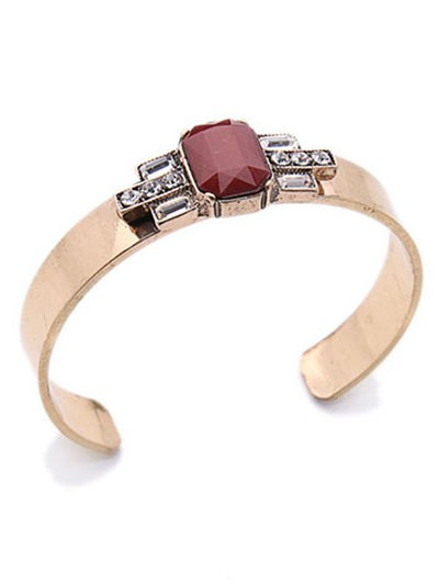 Acrylic Embellished Cuff Bracelet - WINE RED  Mobile