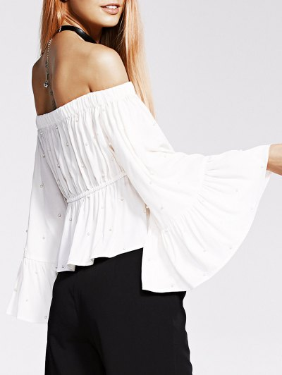 Off The Shoulder Faux Pearl Blouse - White
