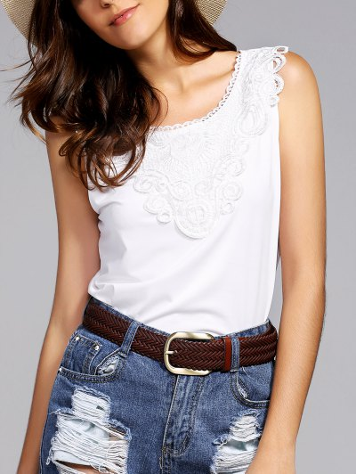Lace Spliced Round Neck Tank Top - White