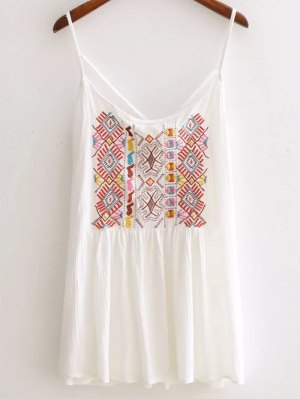 Ethnic Embroidery Cami Backless Tank Top - White