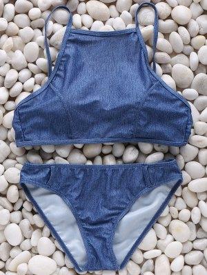 High Neck Chambrary Cami Bikini Set - Blue
