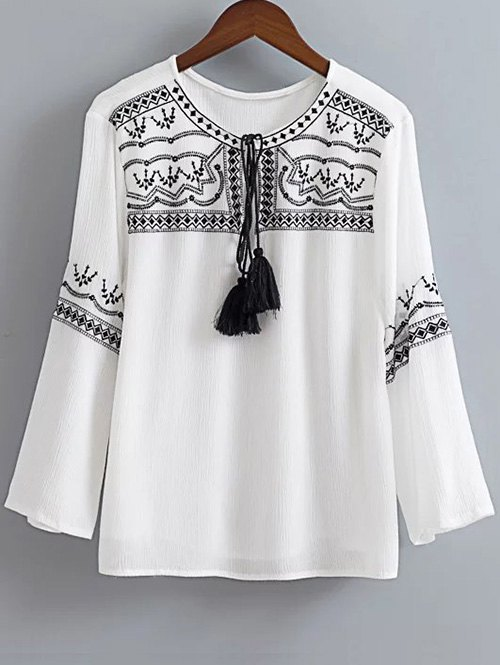 Ethnic Embroidered Round Neck Long Sleeve Blouse