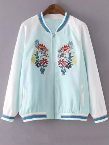 Floral Embroidery Stand Neck Jacket