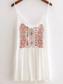 Ethnic Embroidery Cami Backless Tank Top - White M