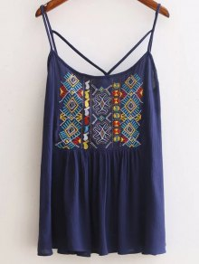 Ethnic Embroidery Cami Backless Tank Top - Cadetblue M