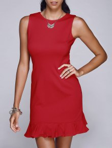 Red Round Neck Sleeveless Mermaid Dress