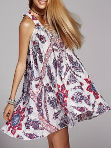 Lace Up V-Neck Printed Dress