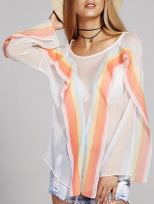 Round Neck Long Sleeve Striped Chiffon Blouse