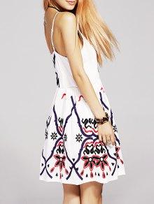 Waisted Embroidery Cami Dress