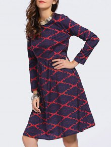 Argyle Long Sleeve High Waisted Dress