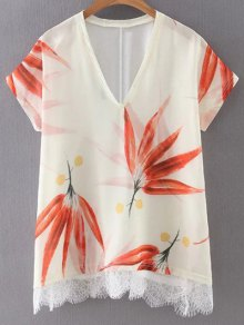 Leaf Print V Neck Short Sleeve T-Shirt - M