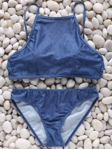 High Neck Chambrary Cami Bikini Set - Blue